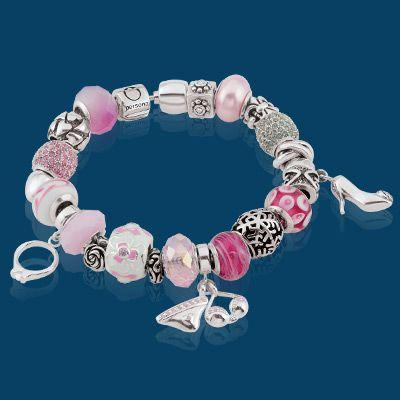 Adorable!! Pretty charm bracelets with engagement ring, bikini & shoe charms.