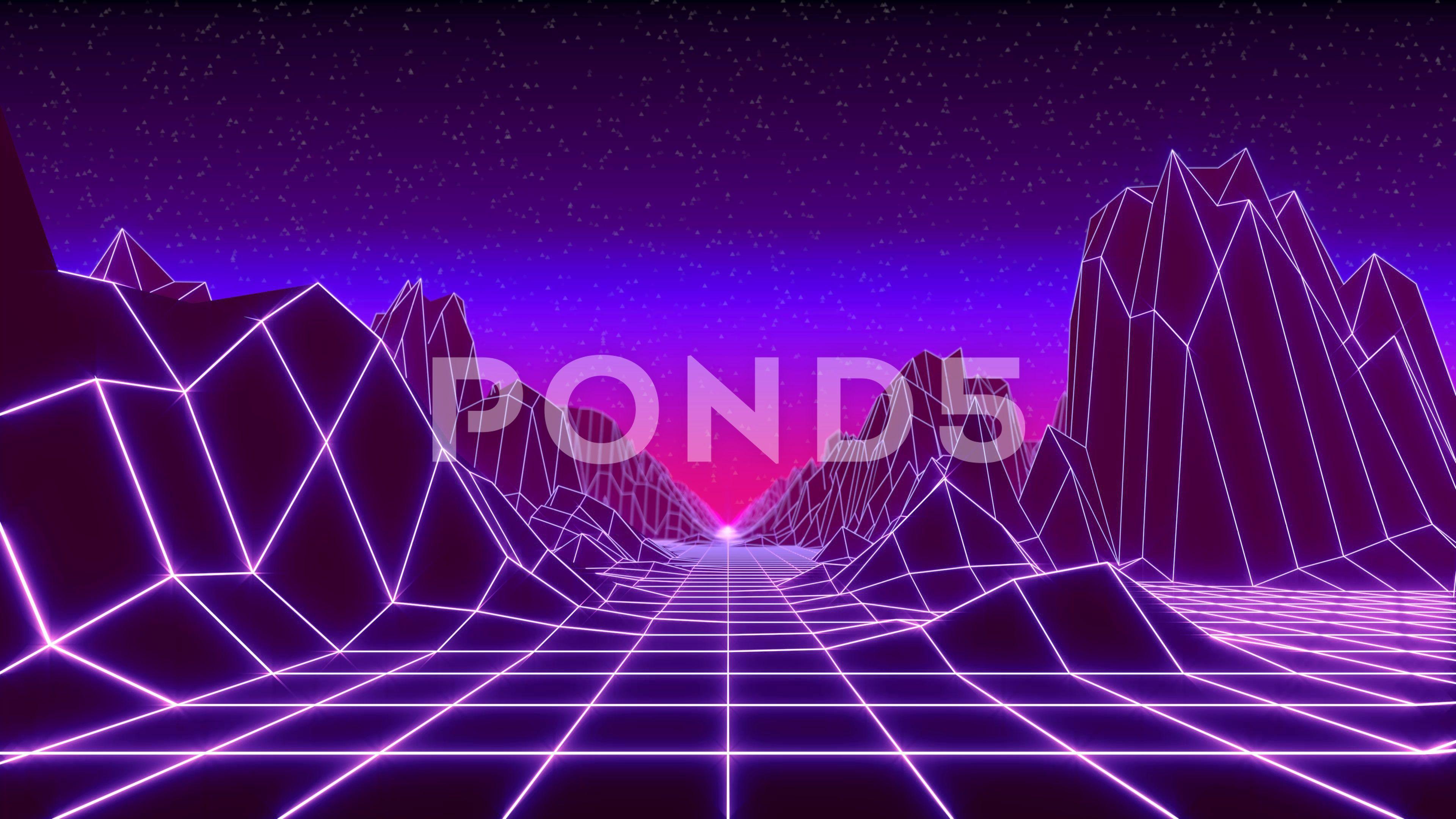 80s Retro Background Loop Animation Retrowave Horizon Landscape With Neon Light Stock Footage Ad Loop Animation Retrow Retro Background 80s Background Neon