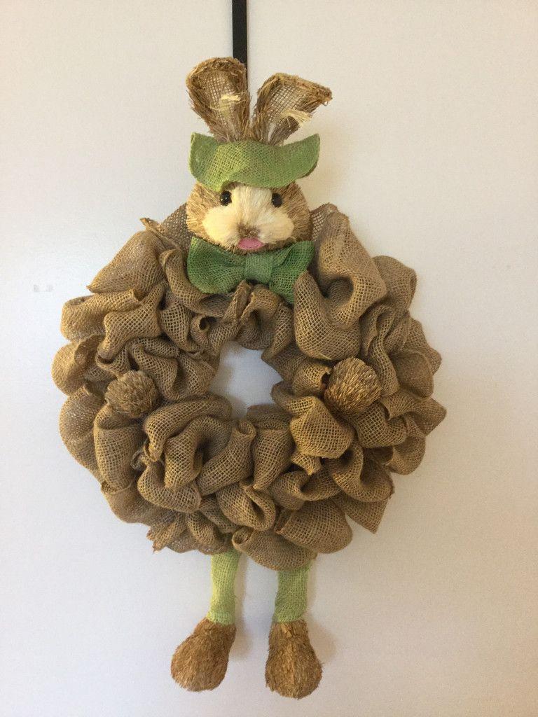 Burlap Bunny Wreath