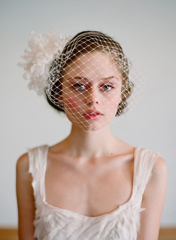 french birdcage veil-wedding hairpiece in black of course :)