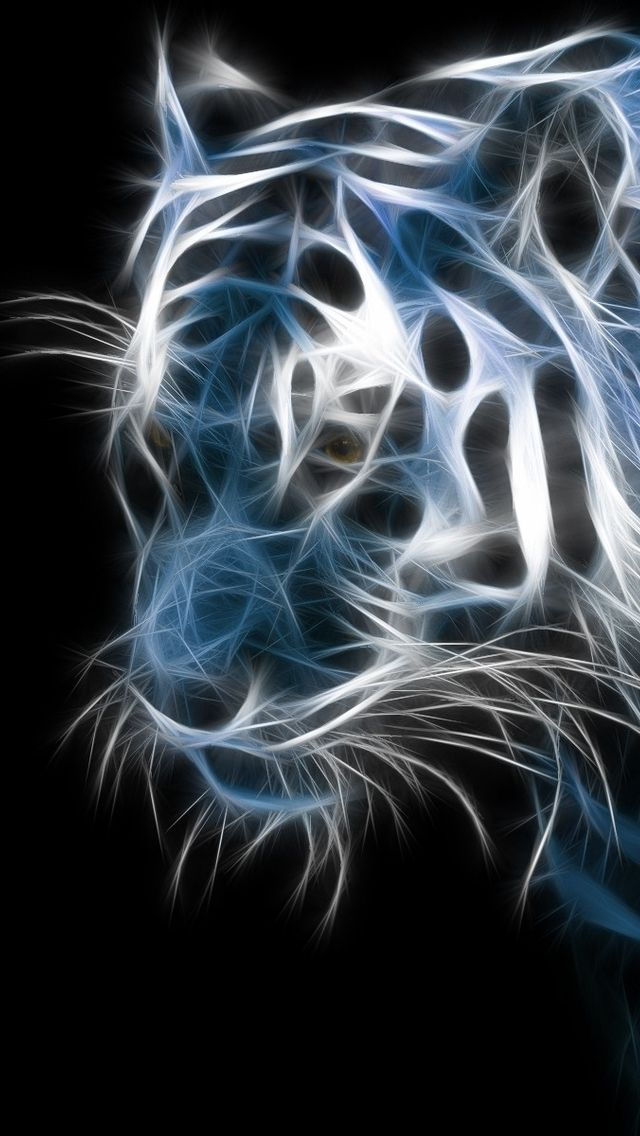 Iphone 5 wallpapers hd retina ready stunning wallpapers animals tiger fractal in blue wallpaper altavistaventures Image collections