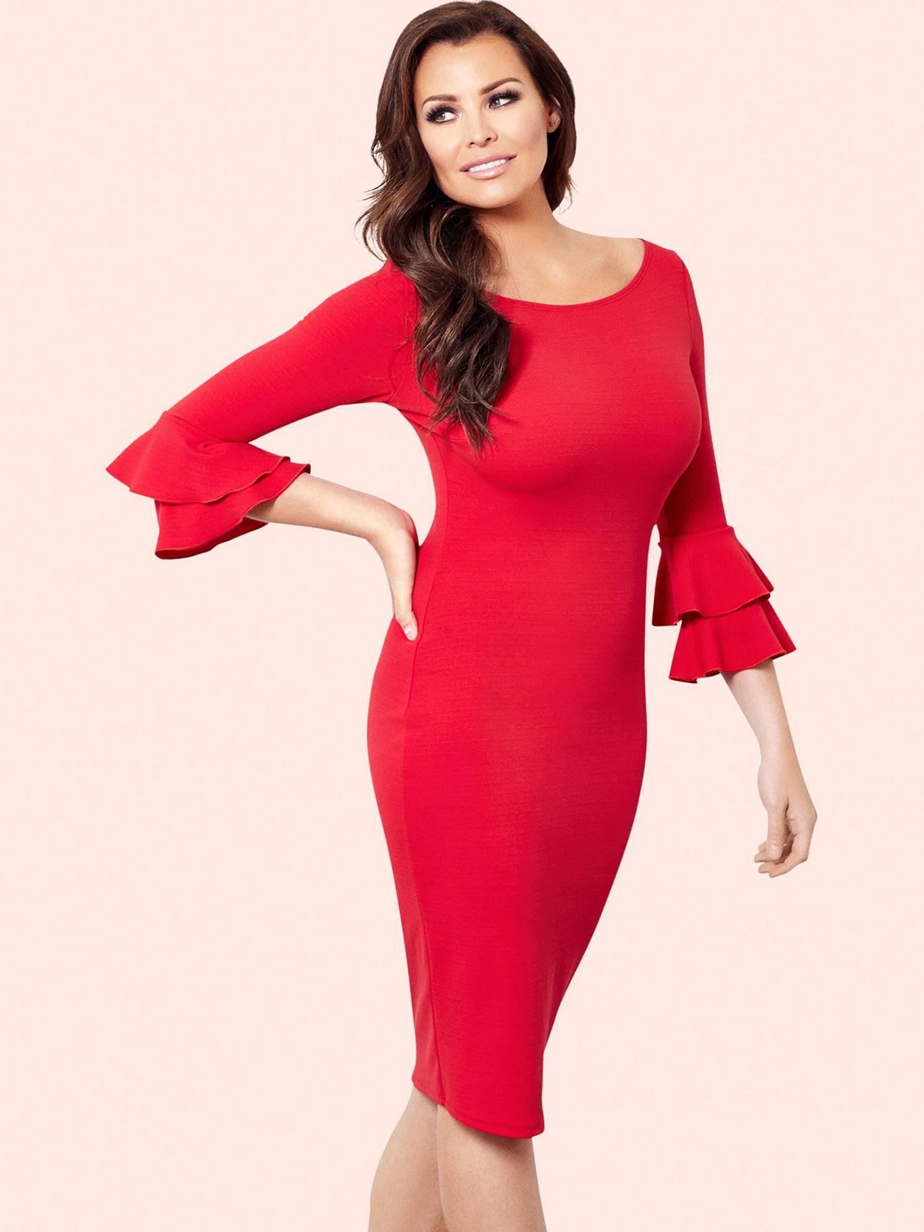 Jessica wright izzie frill sleeve bodycon dress etuikleider