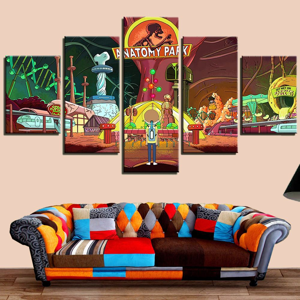 5Pcs Anatomy Park on Rick and Morty Poster Canvas Print Wall Art ...