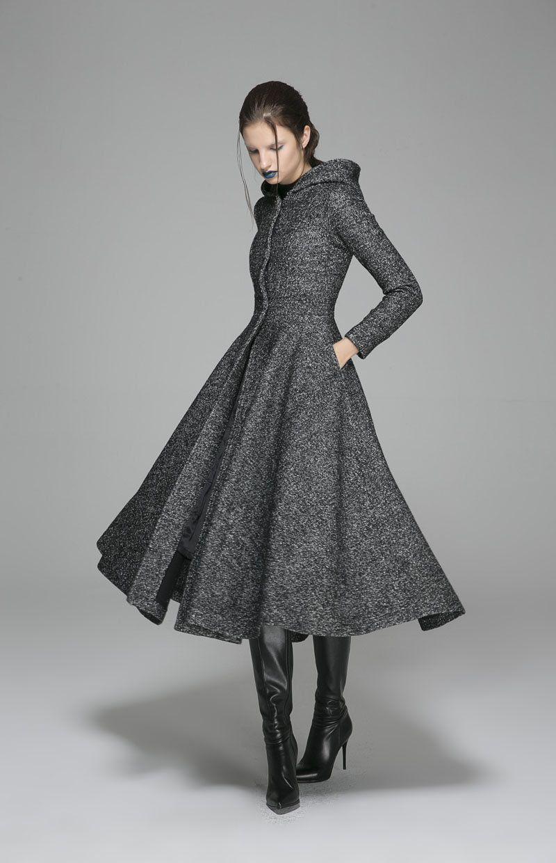 Maxi-Wolle-Mantel Kapuzenschaukel Mantel grauer Mantel  Etsy in