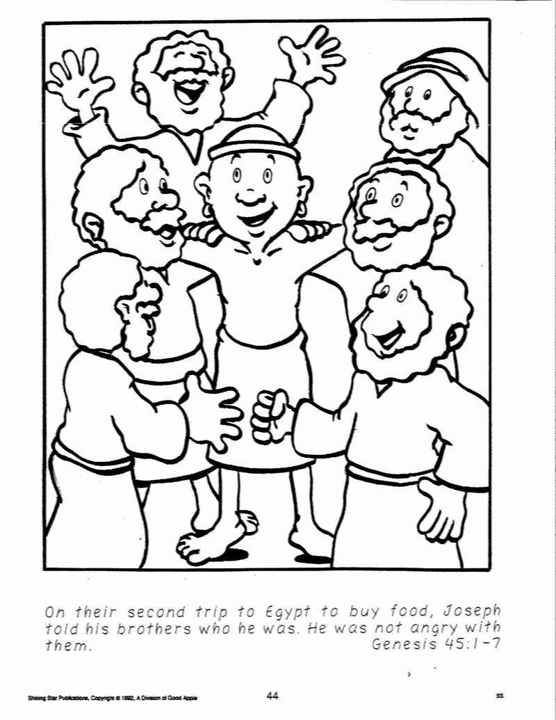 Joseph Coloring Pages Joseph Forgives His Brothers Coloring Page