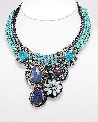 Gorgeous handmade jeweled statement necklace by bijouxdobrasil, $80.00