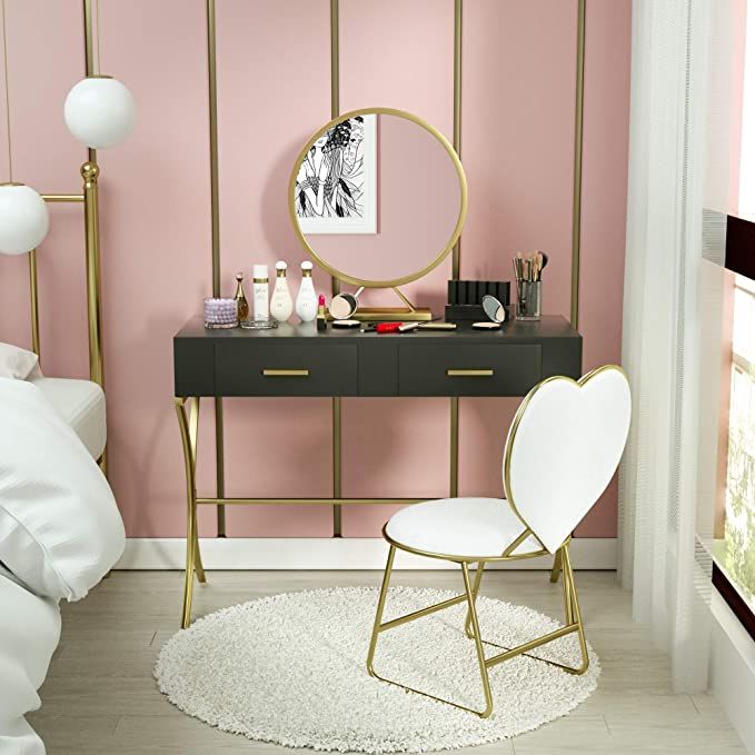 Vanity Table Set With Round Mirror Wood Makeup Vanity With Gold Metal Legs Heart Shape Cushioned Stool Girls Wo In 2020 Vanity Table Set Black Vanity Desk Vanity Table