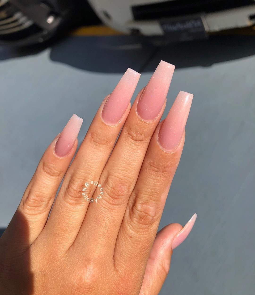 "Alexandra Nanette's Instagram profile post: ""Who saw these nails on my live today ?! • • • • • • 💅🏻 "" lustrous pink""- @valentinobeautypure • • • • • • • • • • ⭐️ Hand Model -…"""