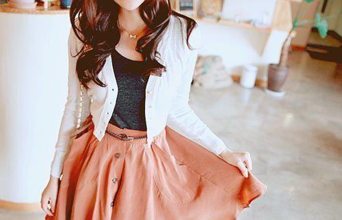 white cardigan, peach skirt