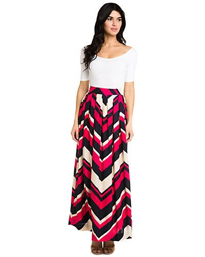 "Elizabeth McKay ""Hong Kong"" Cresta Silk Maxi Skirt"