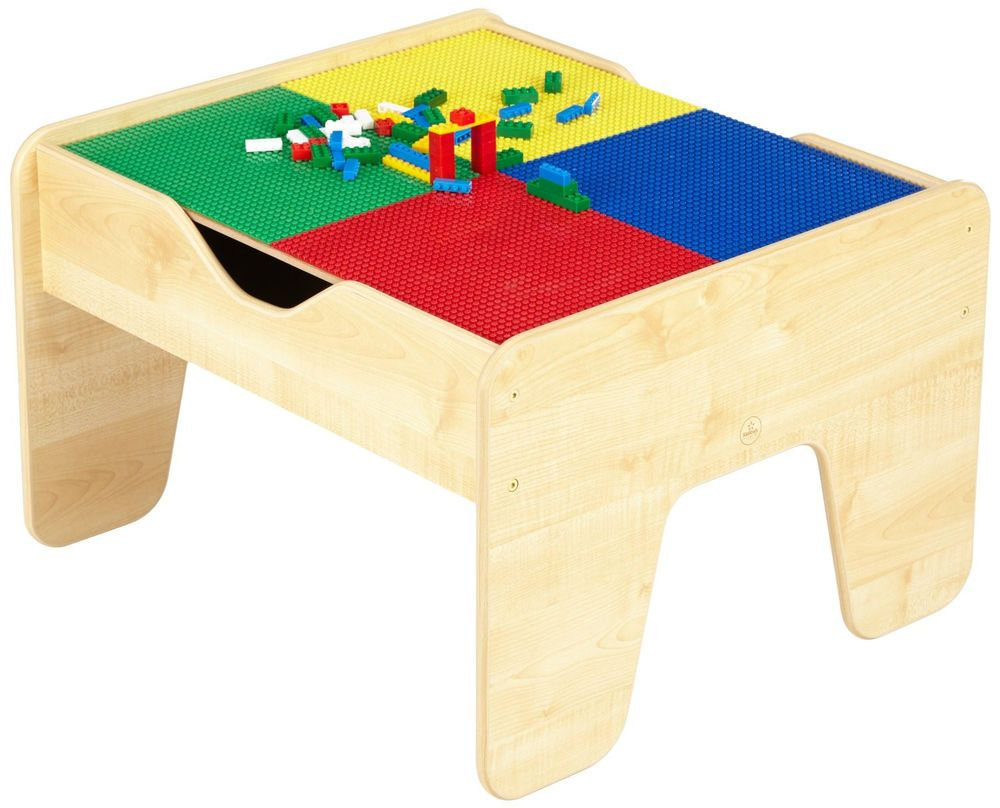 Wooden Train Table with LEGO Compatible Board KidKraft 2-in-1 Activity