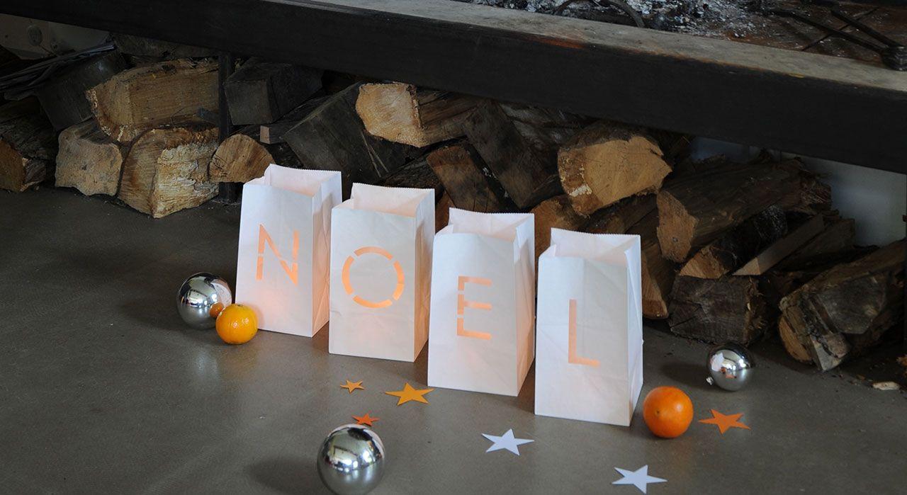 Tout est bon pour rappeler la fête de la Nativité! Les sacs en papier s'illuminent comme des lucioles. Fournitures 4 sacs en papier blanc (Raja) Emporte-pièce métallique lettres ...
