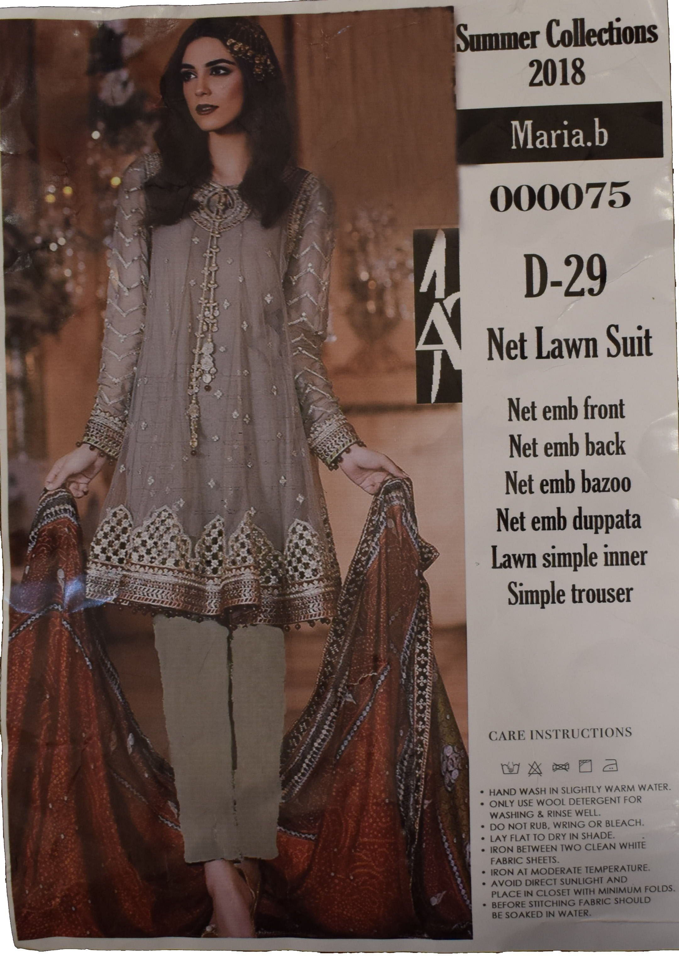 0f759bfdad Maria B. Embroided Lawn Suit 2018 ₨1,700 Front Embroided Dupatta Net  Embroided Patches Neck, Sleeves