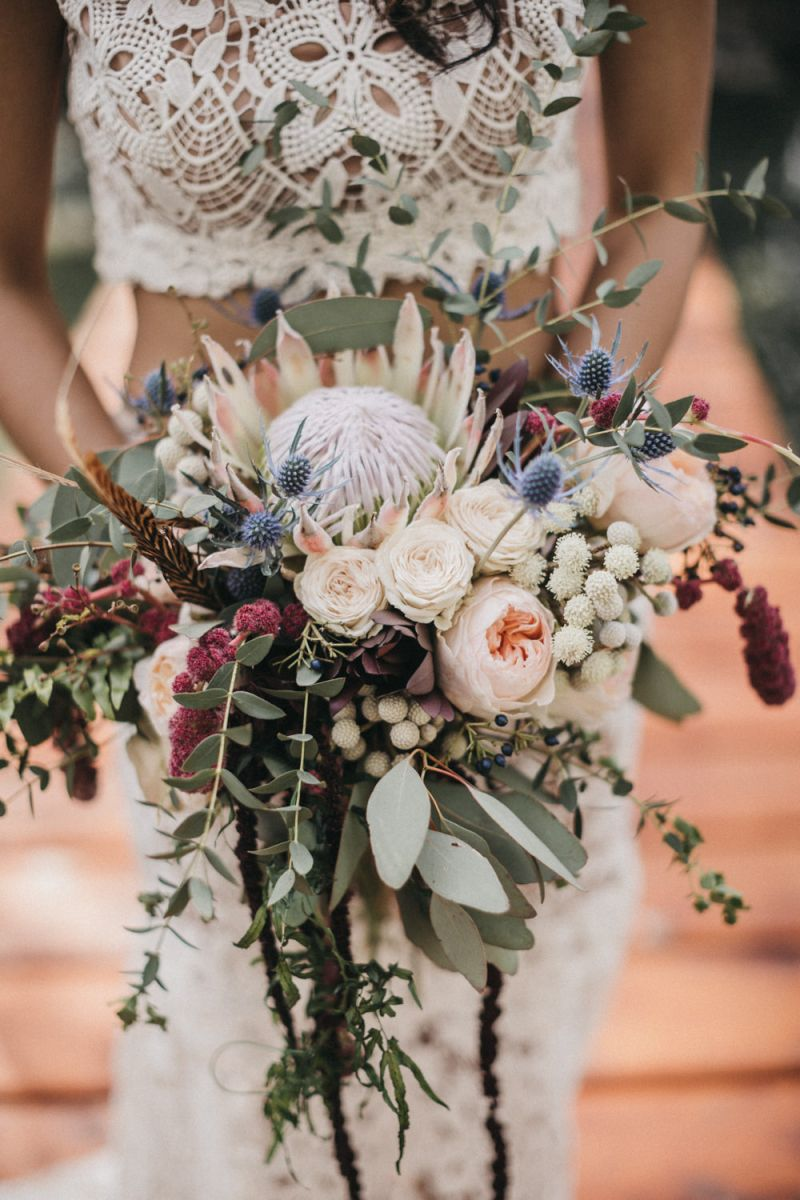 Bridal Bouquet With Protea Peonies Thistles And Eucalyptus In