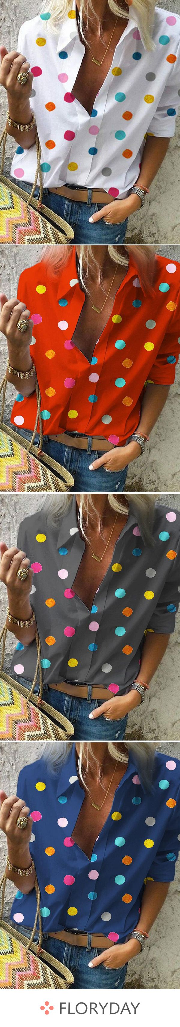 Polka Dot Casual Collar Half Sleeve Blouses