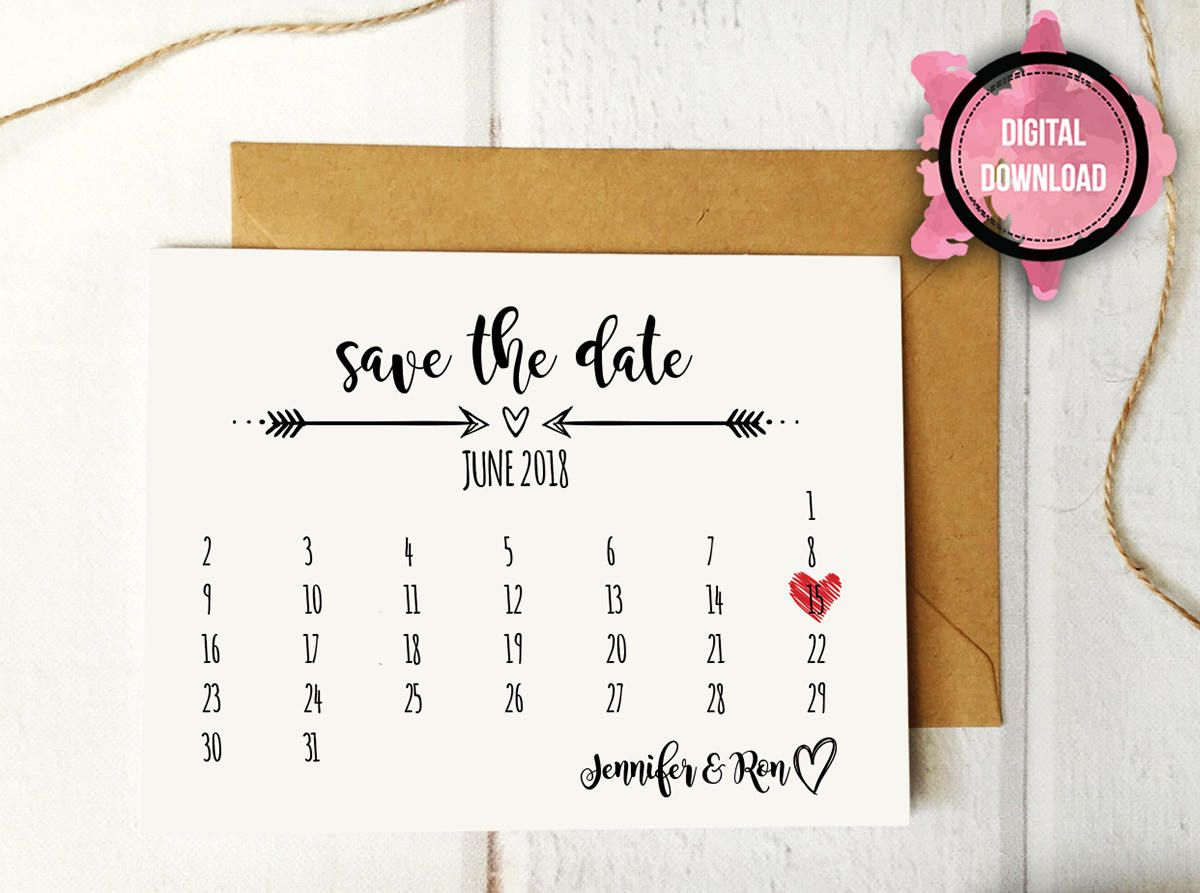 Rustic Calendar Save The Date Template Printable Wedding Etsy Save The Date Templates Wedding Calendar Diy Save The Dates