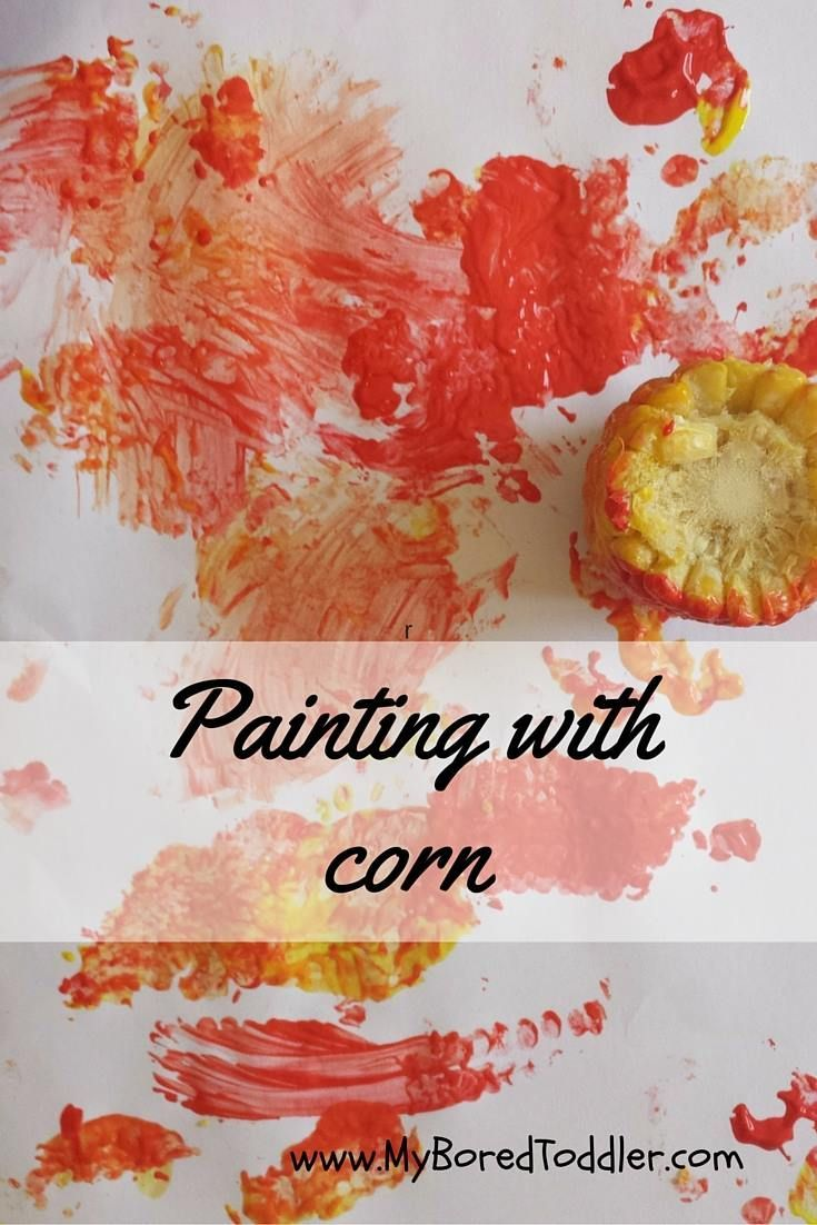 Thanksgiving craft for toddlers - painting with corn - My Bored Toddler