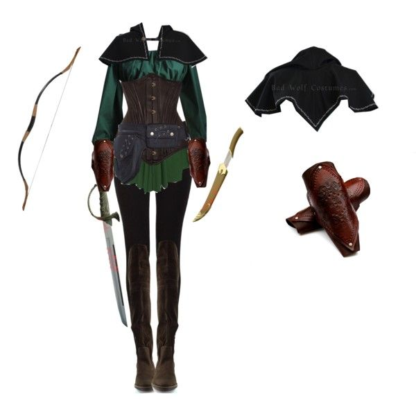 Elven Ranger Female by saradryden on Polyvore featuring Qupid Costume warrior elf ...