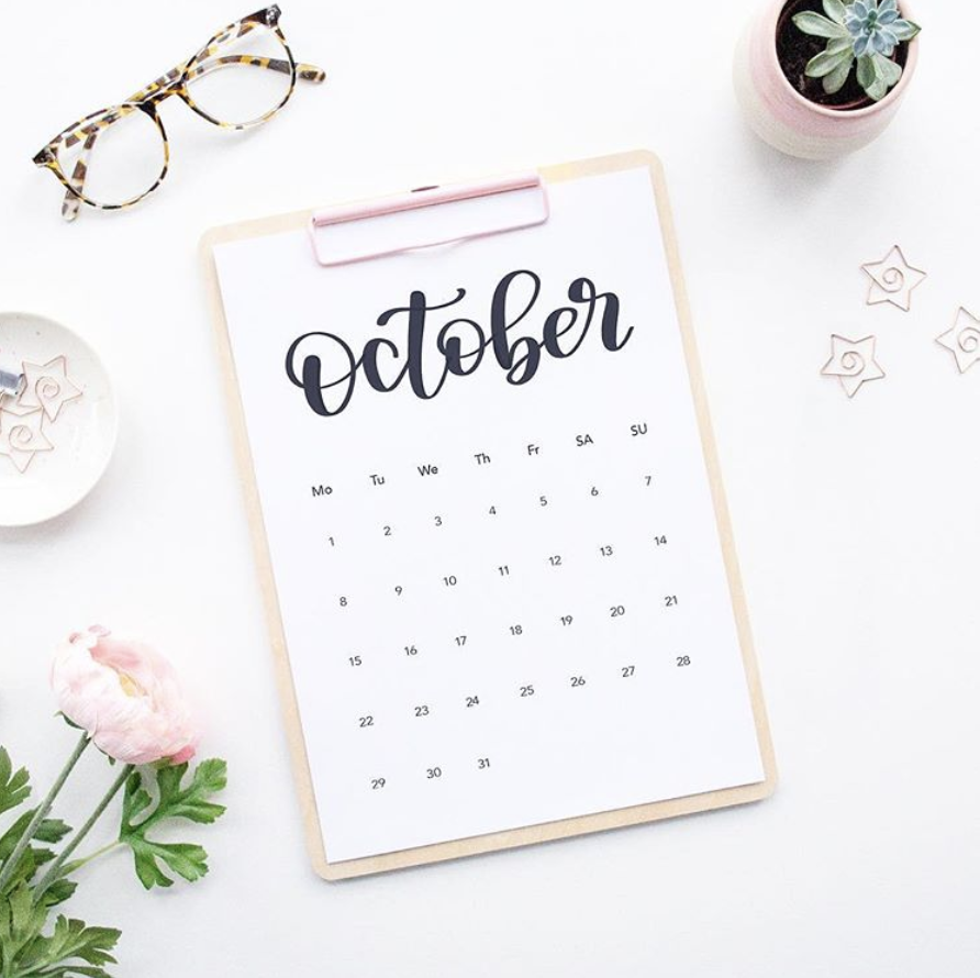 Wedding Photography Blog Ideas: October Calendar Calligraphy Flatlay