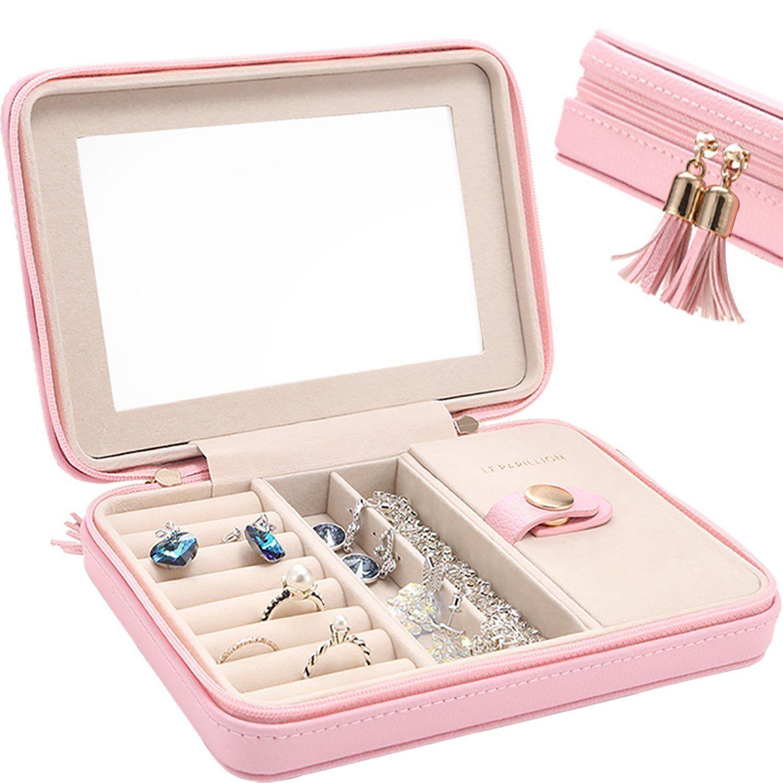 Small Jewelry Box Travel Jewelry Organizer Storage Case with Large