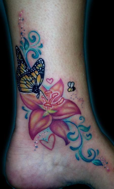 Ankle Butterfly Flower Tattoo Design Butterfly With Flowers Tattoo Ankle Tattoo Hawaiian Tattoo