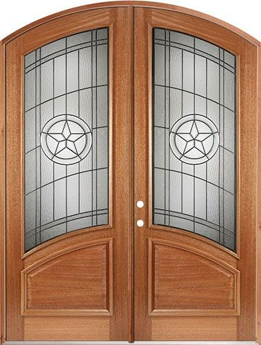 80 Mahogany Arch Top Double Door Curved Texas Star - front entry door from Door Clearance & 38\