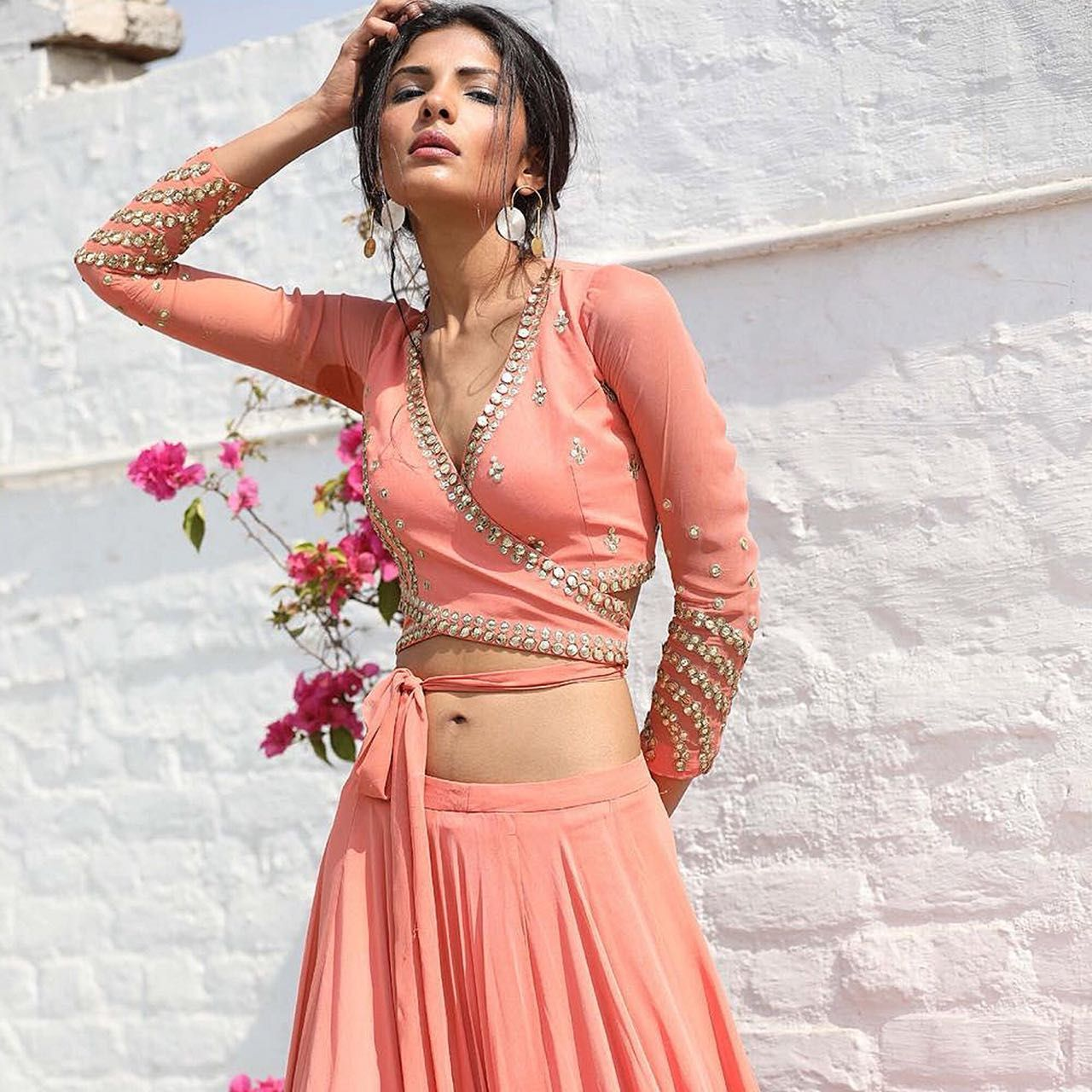 226c88d655155 Sanya Gulati Dusty Peach Embroidered Wrap Crop Top with Lehenga Skirt Set   dusty  peach  wrap  croptop  lehenga  tieup  embroidered  sanyagulati   ...
