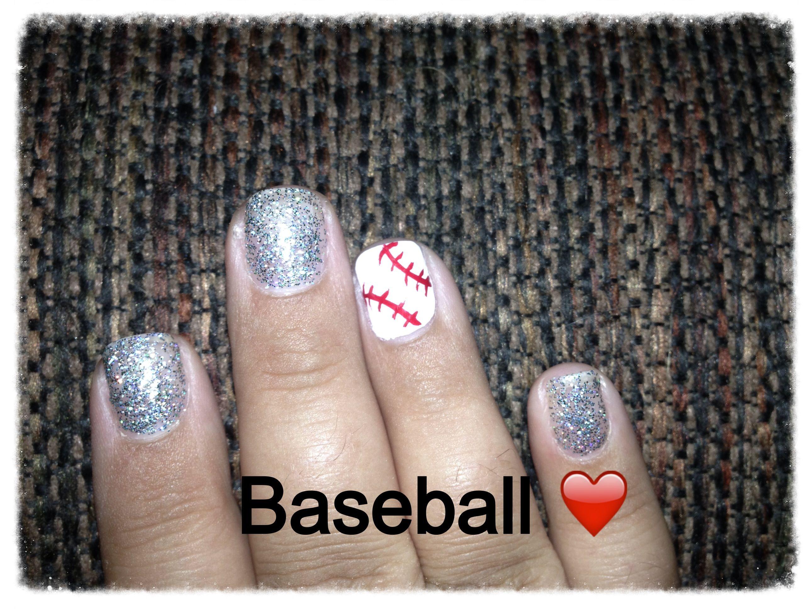 My baseball nails ♥ love Sports nails, Fingernail