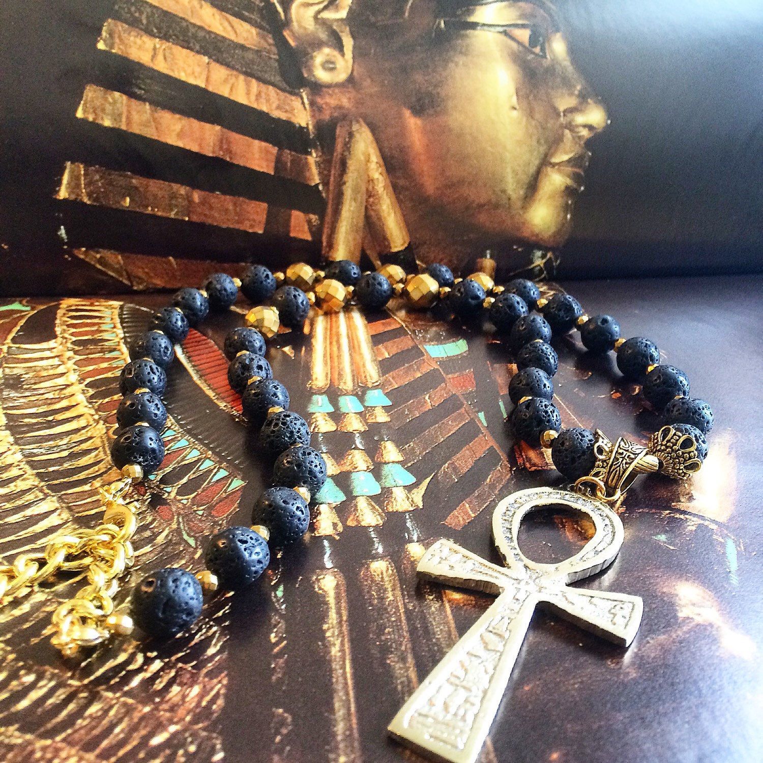 Ankh Necklace Lava Stone and Gold Hematite Necklace Egyptian Ankh