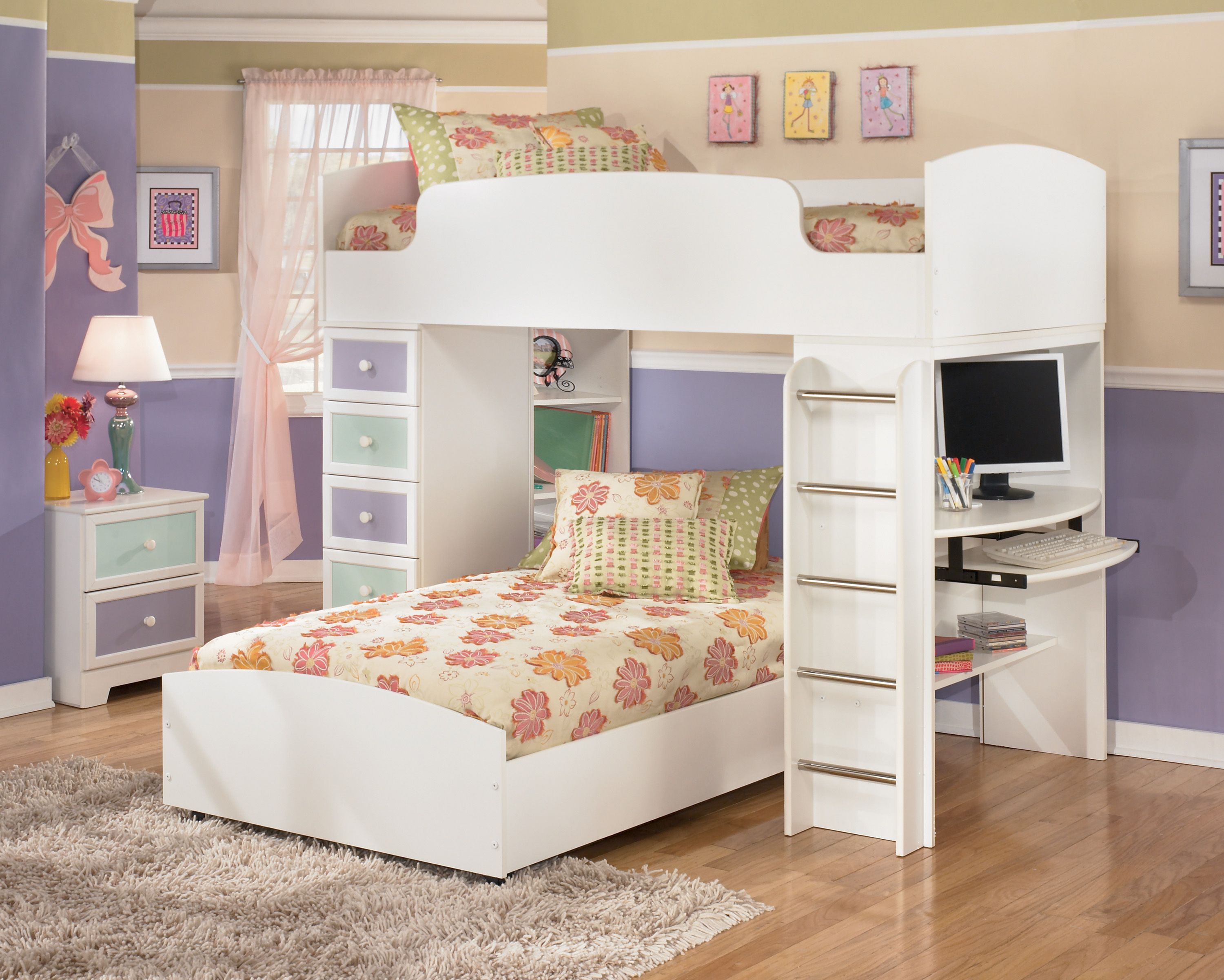 Children Bunk Bed With Study Table Storage