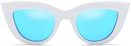 ff85b8ba5e SojoS Fashion Classic Celebrity Bold Thick Womens Ladies Cat Eye Sunglasses  SJ2939 With White Frame Blue Lens