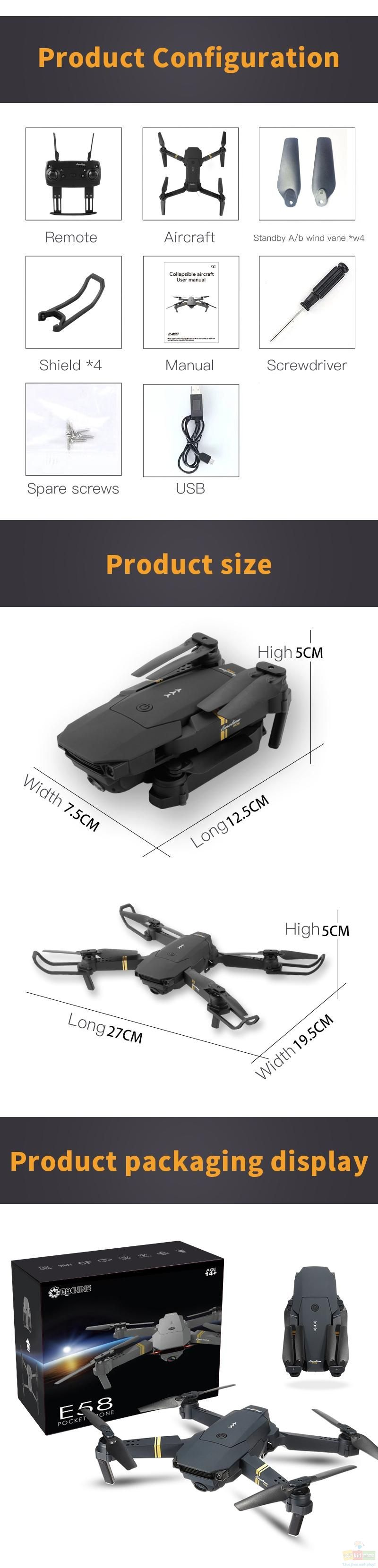 Eachine E58 Manual : eachine, manual, Eachine, Angle, 1080P/720P/480P, Camera, Hight, Foldable, Quadcopter, Drone, Camera,, Quadcopter,