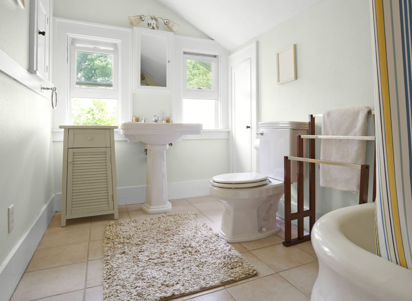 Hallway Bathroom In Glidden  Morning Hush White