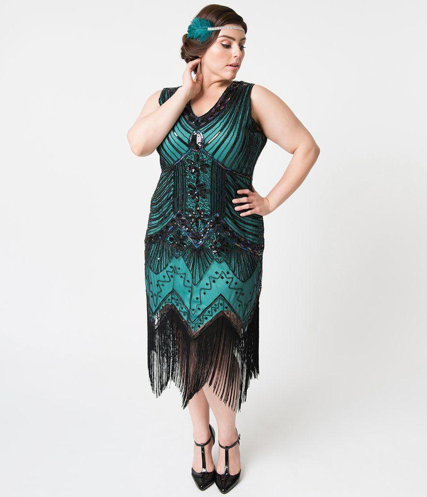 Plus size 1920s deco teal black veronique fringe flapper