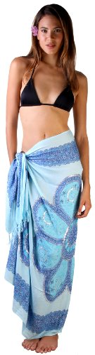 9c6d28513e Sarong Bathing Suit Cover-up Medallion Print Sequins & Shell Clip with  Mandala Motif. Silky Soft, Lightweight and Sensual. Use as a coverup,  shawl, scarf, ...