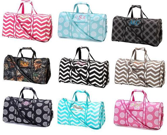 Sports/Duffel Bags Personalized with Monogram or Name...great for sports, gym, overnight, cheer, dance....makes a great gift idea! www.petswithstyleboutique.com