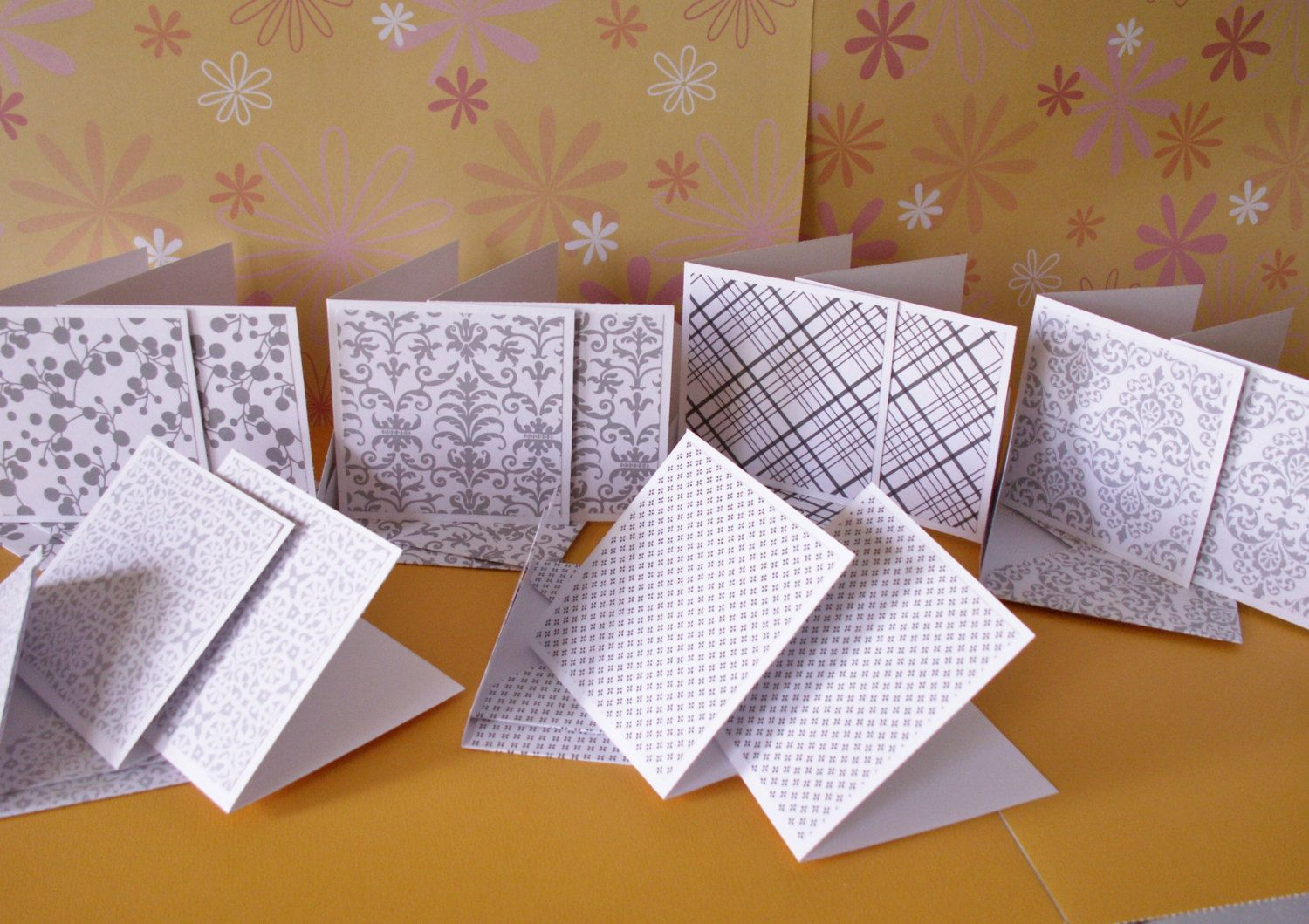 12 3 by 3 inch gray and white pattern note cards with matching envelopes by memories4alifetime on Etsy