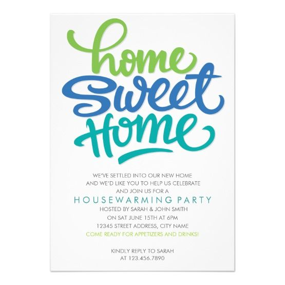 This fun housewarming party personalized invite is simple modern