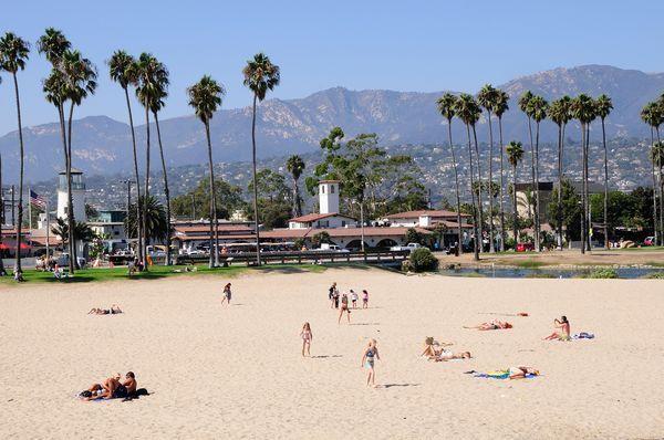 Picture of people on East Beach in Santa Barbara, California