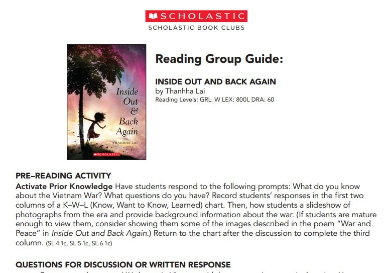Inside Out Back Again Reading Group Guide From Scholastic