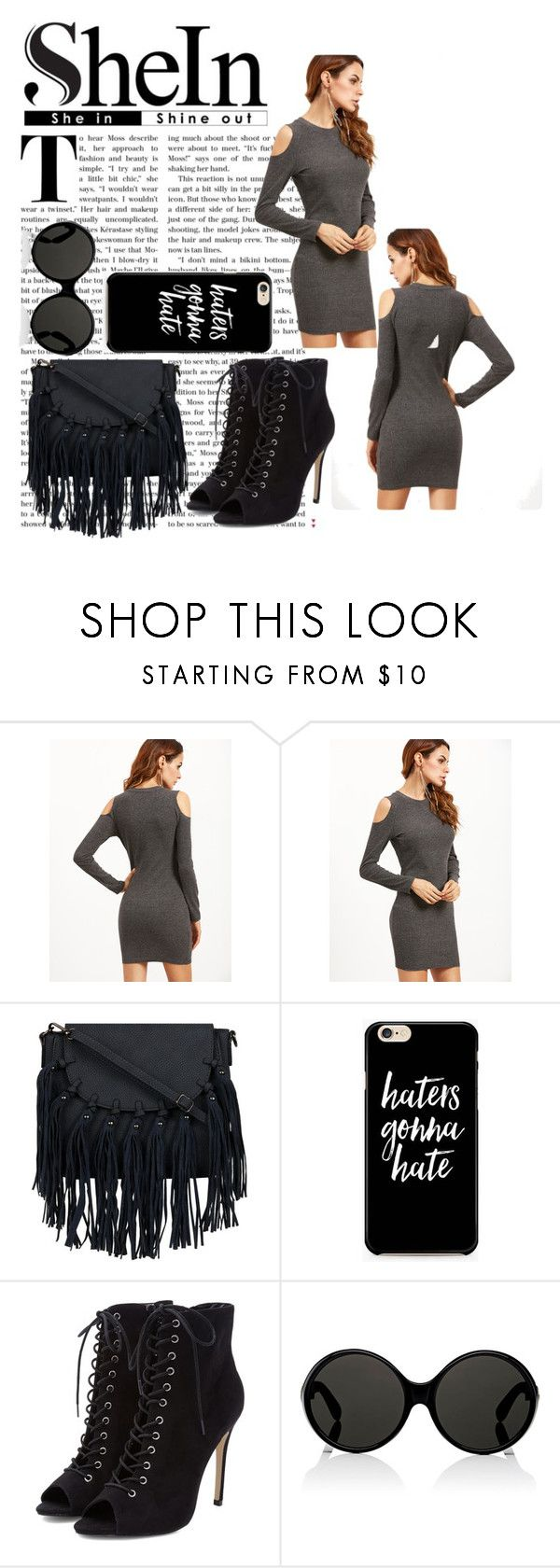 """""""Grey Open Shoulder Dress"""" by harrariz ❤ liked on Polyvore featuring Yves Saint Laurent"""