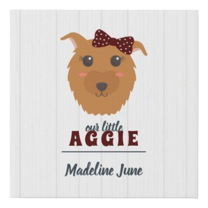 Baby Girl Aggie Dog Maroon Faux Canvas Print Zazzle Com Baby Girl Canvas Prints Baby Shop