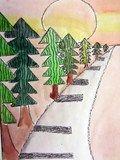 Artsonia Art Exhibit :: Trees Using One Point Perspective