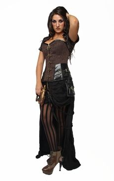 9001 brown steel boned steampunk corset and jacket