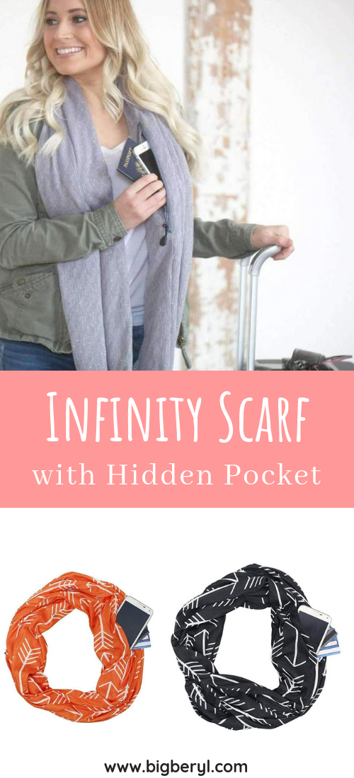 Christmas Gift Ideas for women in your life, wife, girlfriend, mother, daughter, sister, friend. This infinity scarf has a hidden pocket to keep your stuff while showing off your winter fashion look! Look no further this is the best christmas gift of 2018! #christmas #christmasgifts #christmasgiftsideas #christmasgiftguide #christmas2018 #blackfriday #blackfridaydeals #blackfridaysale #blackfriday2018 #winterfashion #winterfashionideas #scarves #scarf #giftsforfriends #giftforher #giftideas