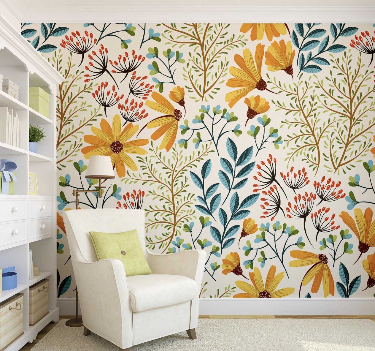 Removable Wallpaper Colorful Floral Wallpaper Peel And Stick
