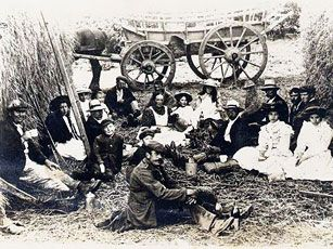 Victorian workers having a meal break.