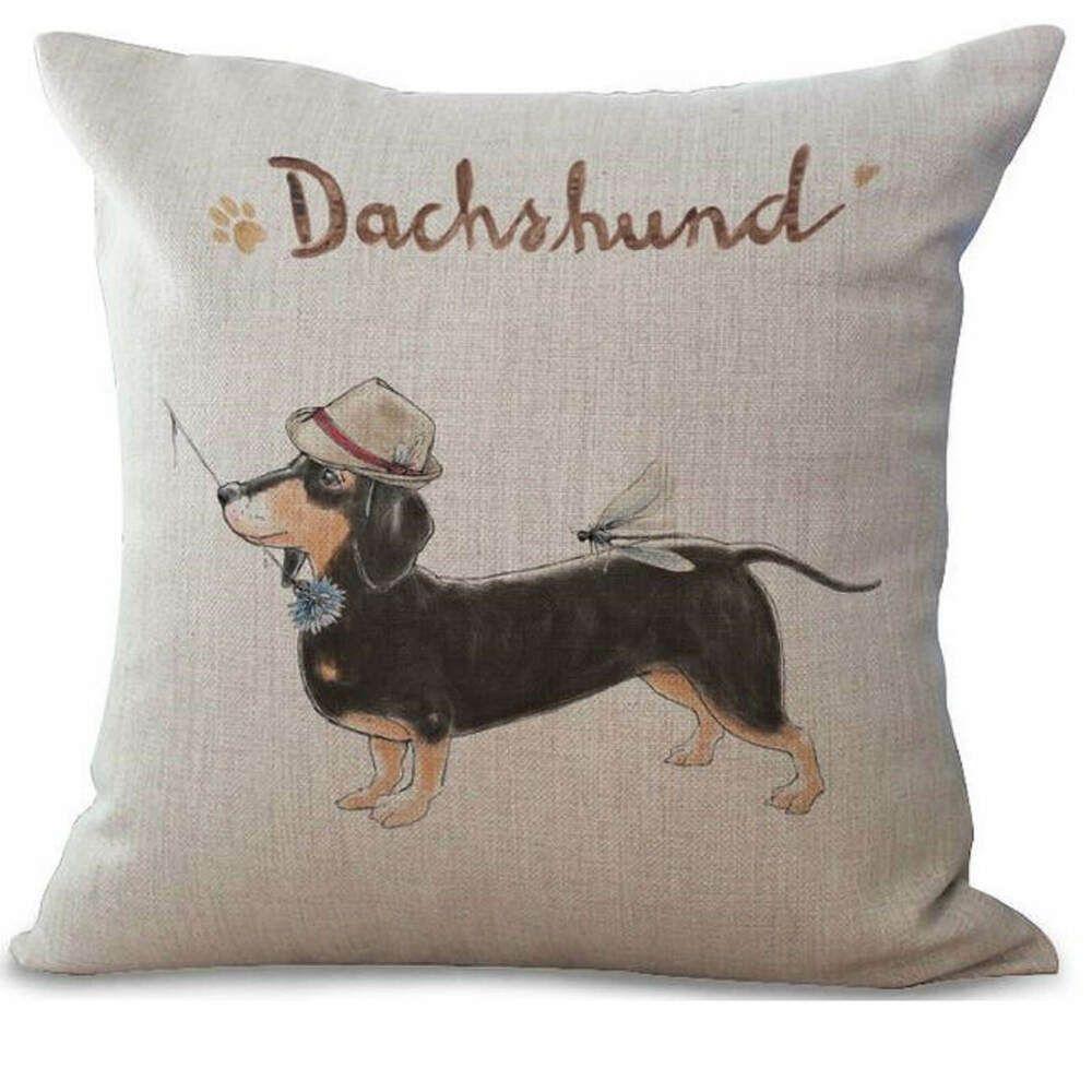 Dachshund Dog Cushion Cover Vintage Shabby Chic Scatter