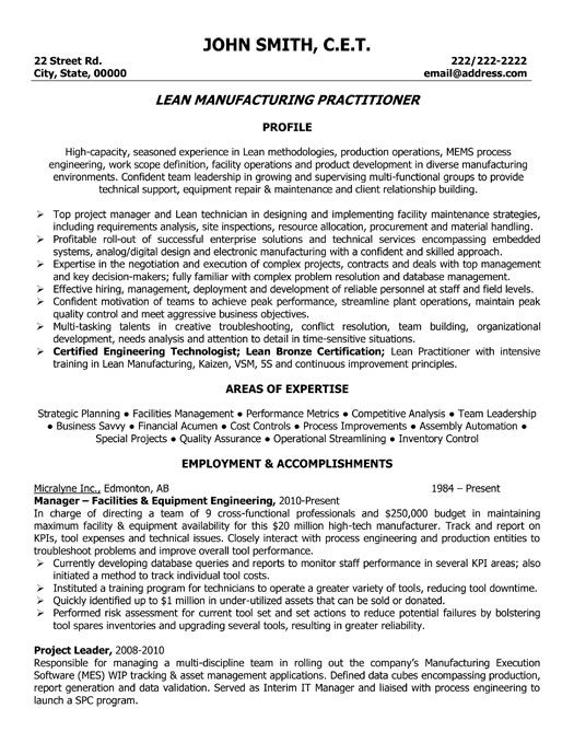 Click Here to Download this Lead Manufacturing Practitioner Resume - resume for manufacturing