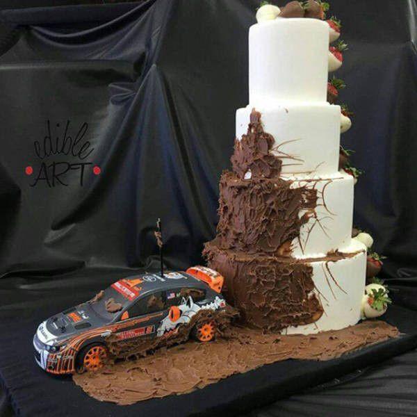 Rally Car Wedding Cake | Chocolate wedding cake, Wedding ...
